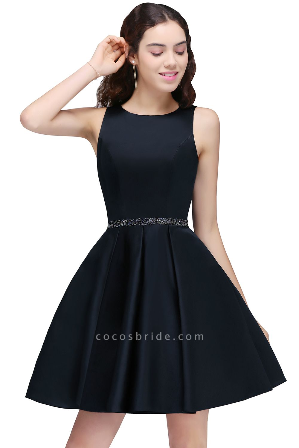BRIANNA | A-Line Round Neck Short Dark Navy Homecoming Dresses With Crystal