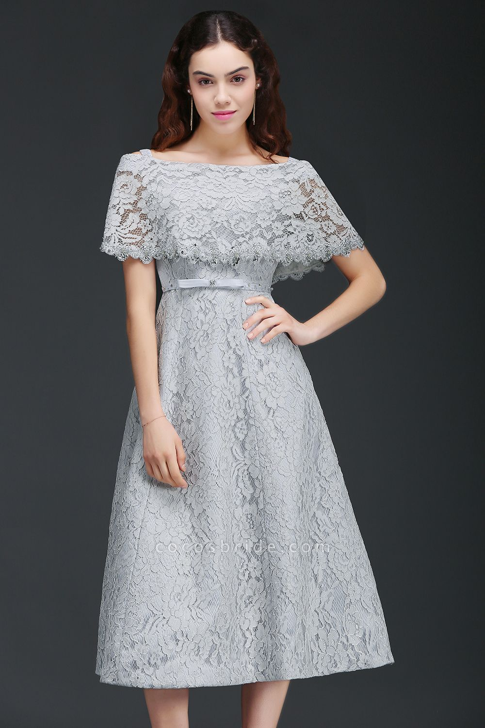ALEXIS | A Line Off Shoulder Tea-Length Lace Homecoming Dresses With Sash