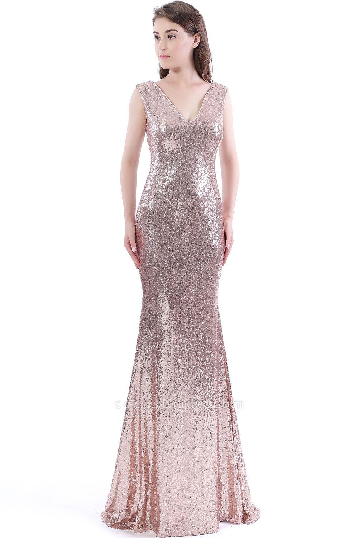 DAKOTA | Mermaid Floor Length V-Neck Long Sequins Prom Dresses