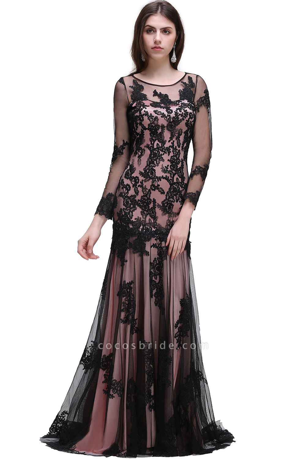 BRYNLEE   Mermaid Long Tulle Sheer Evening Gowns with Appliques