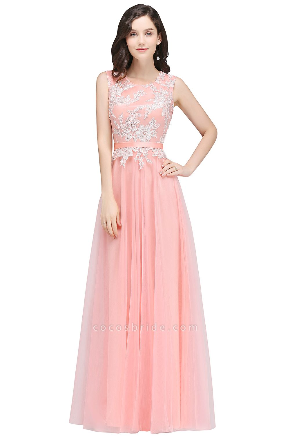 CARLY | A-line Jewel Neck Long Tulle Pink Prom Dresses with Sash