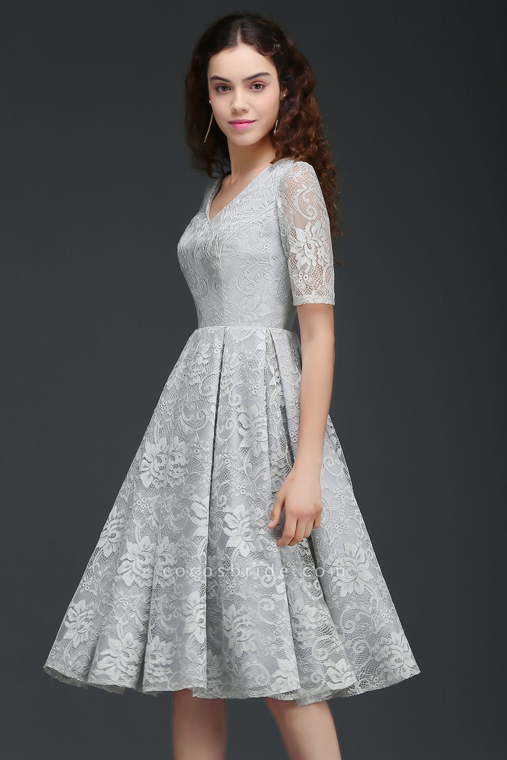 ALEXANDRA | A Line V Neck Lace Short Homecoming Dresses With Sleeves