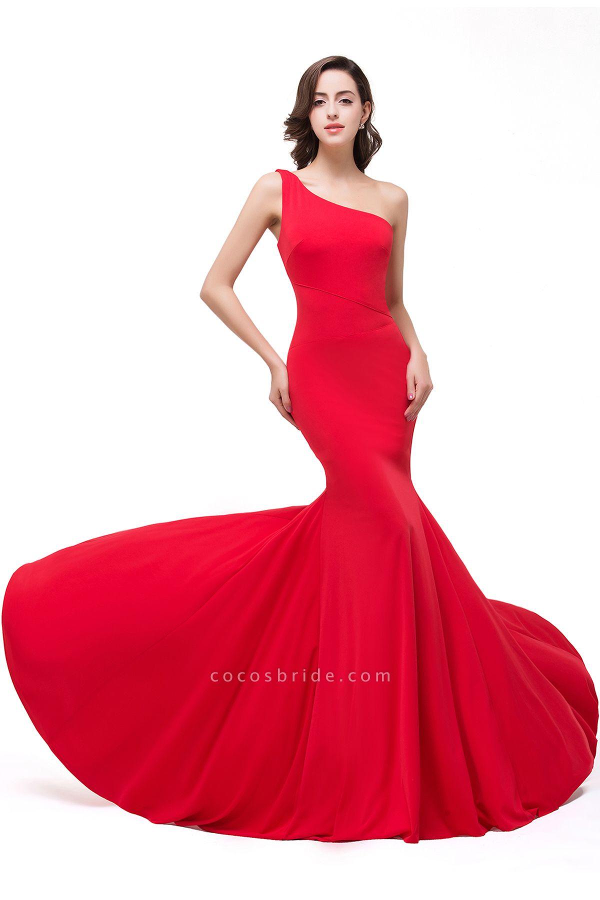 EMMALYN | Mermaid One-Shoulder Floor Length Red Prom Dresses