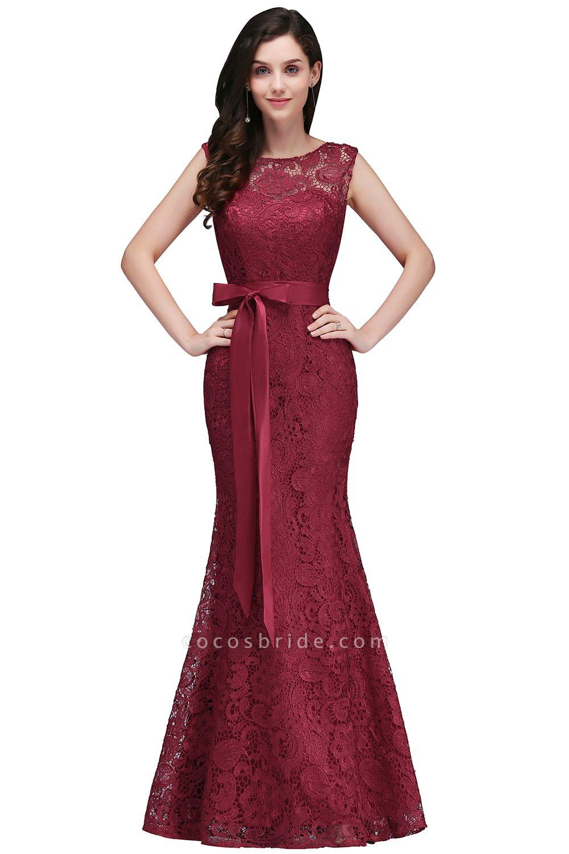 EDEN | Mermaid Sleeveless Floor-length Lace Prom Dresses with Ribbon Sash