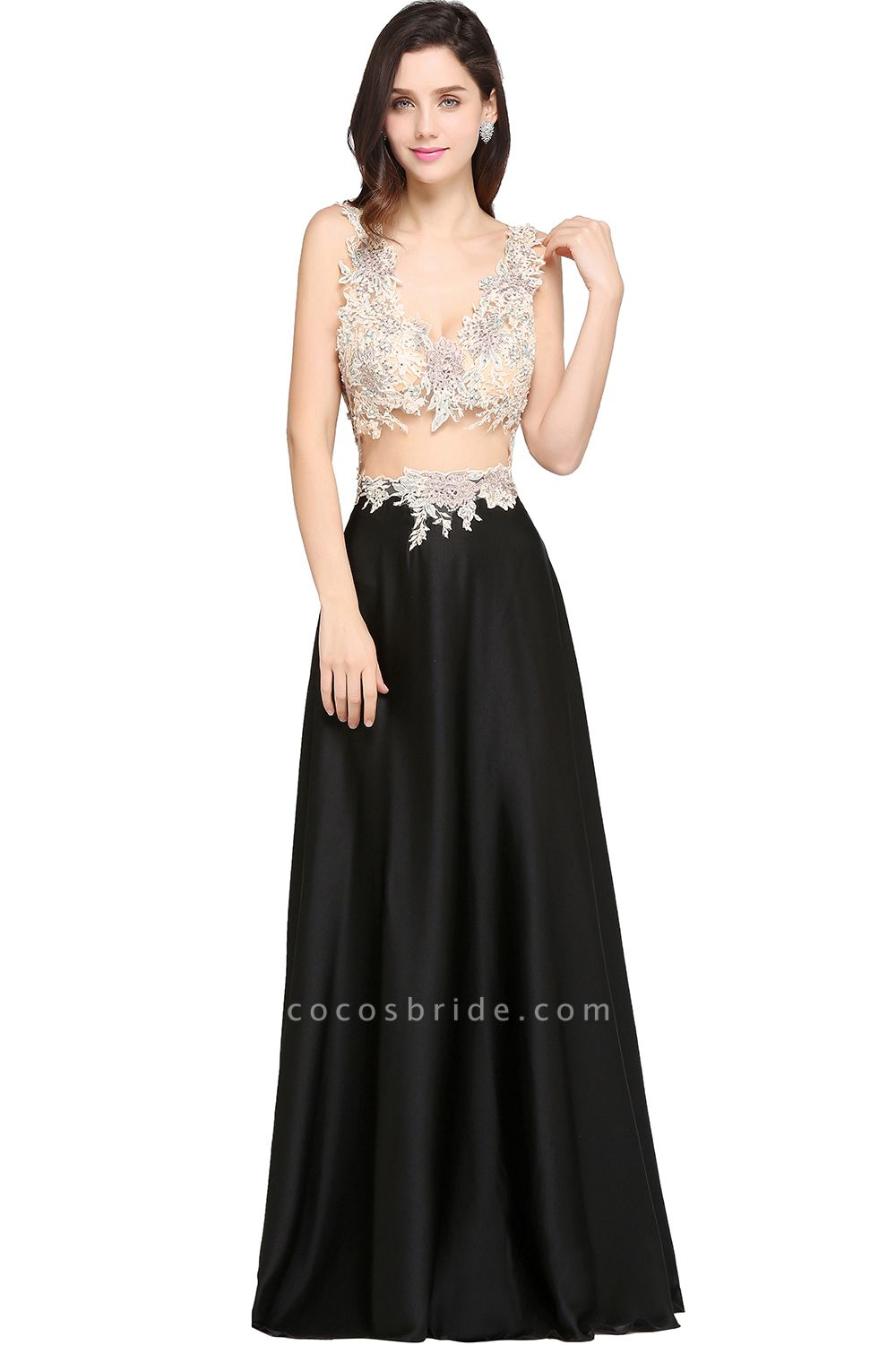 ARIELLE | A-line Floor Length Black Chiffon Evening Dresses with Appliques