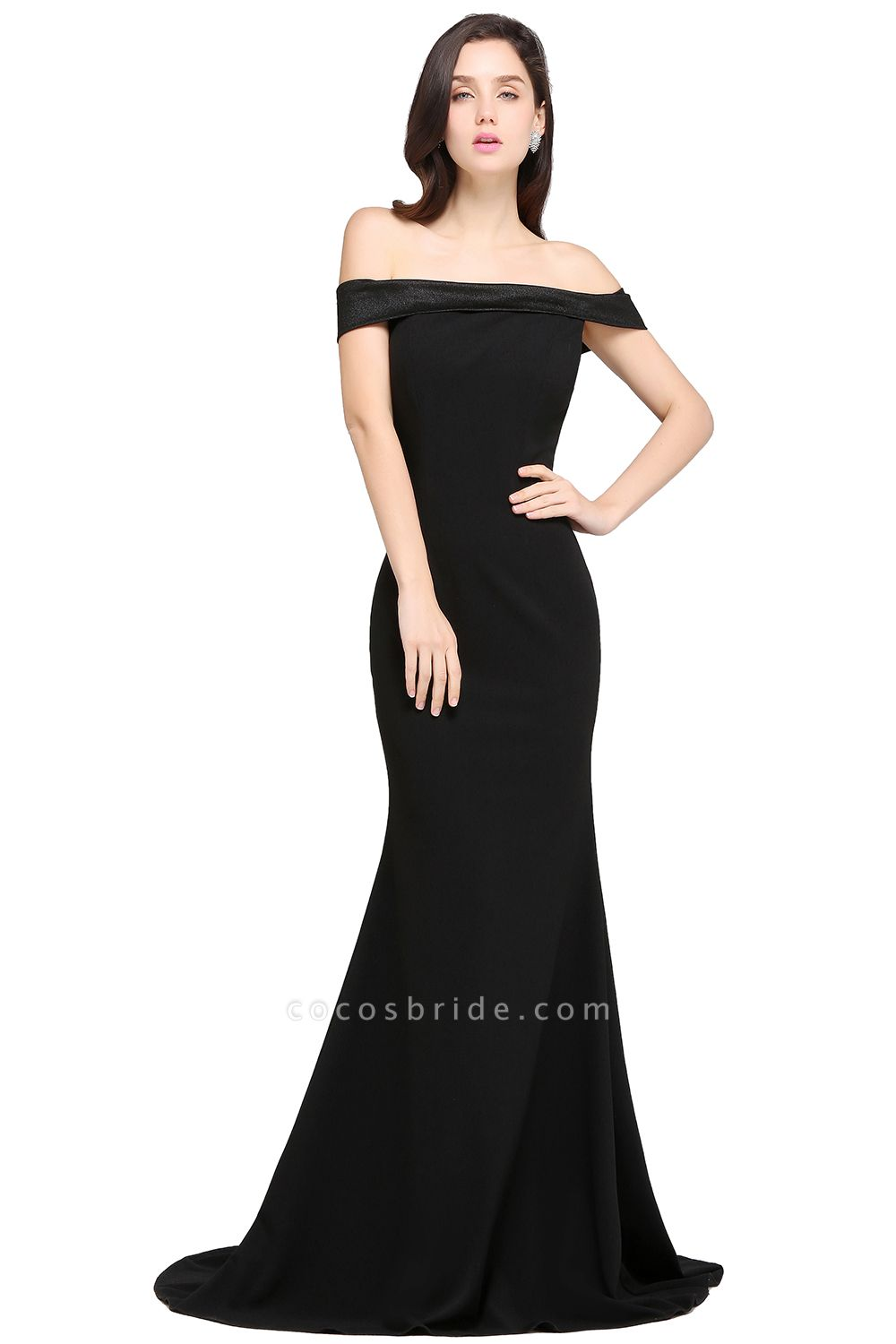 ARIYA | Mermaid Sweep Train Off The Shoulder Black Evening Dresses