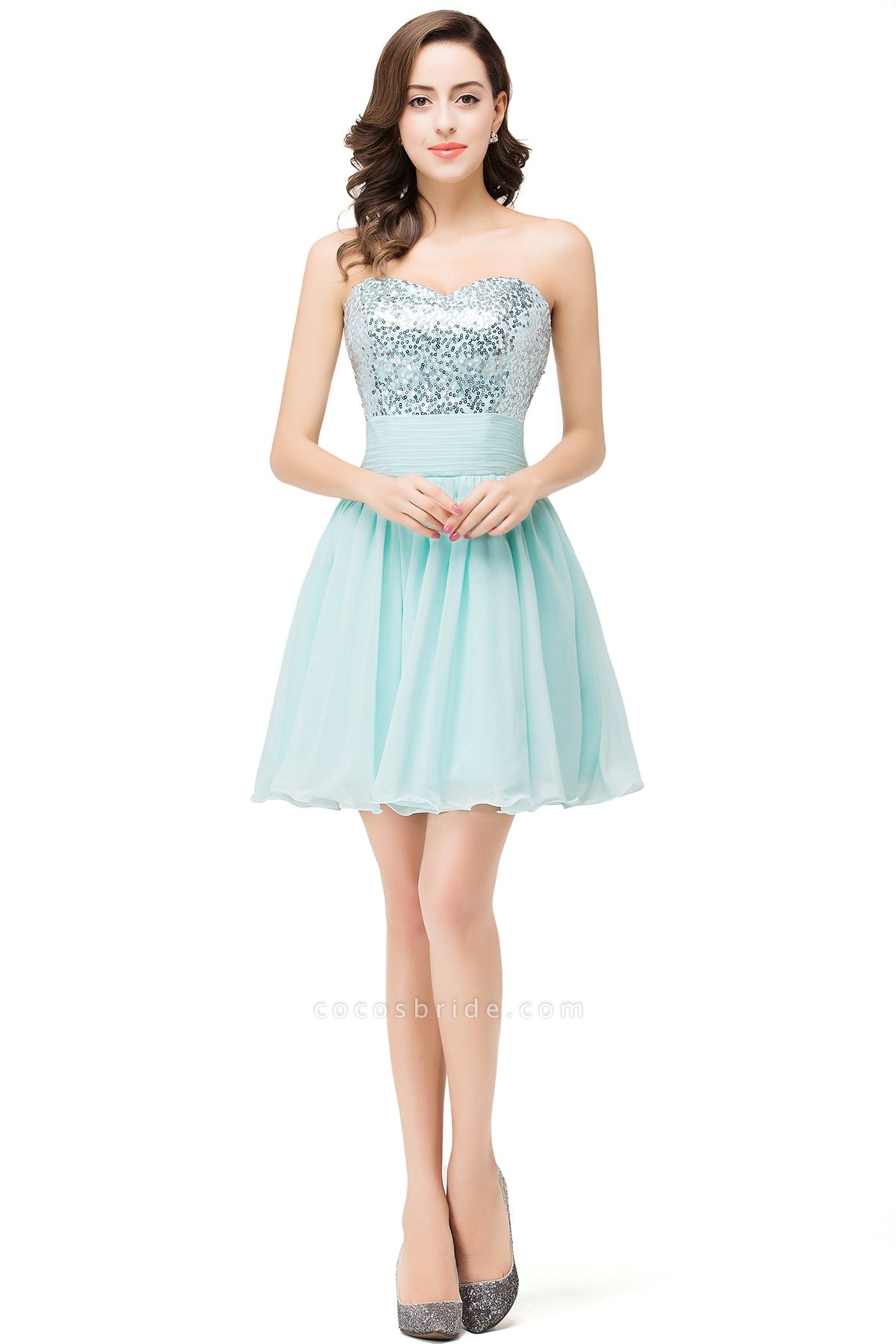 ESTELLA | A-line Sweetheart Sleeveless Chiffon Short Prom Dresses with Sequins