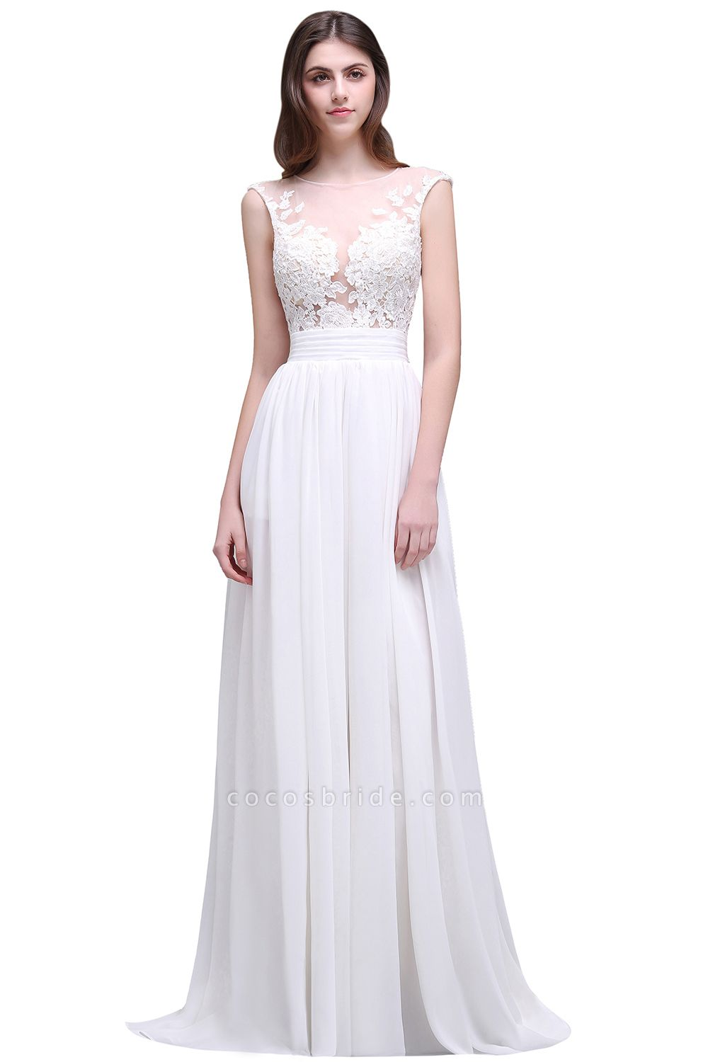 Chiffon Lace Appliques Sleeveless Boho Wedding Dress