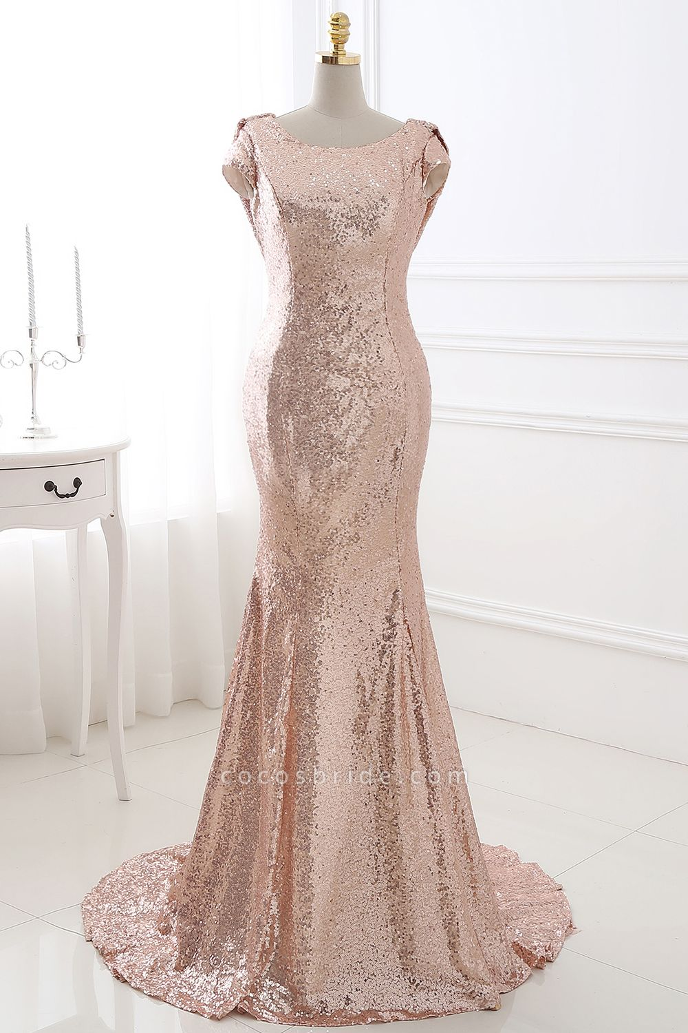 COURTNEY | Fit and Flare Sweep train Sequined Rosy Golden Prom Dress