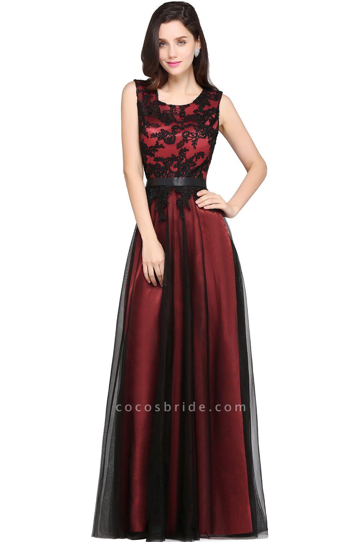 ARABELLA | A-line Scoop Floor Length Lace Cheap Evening Dresses