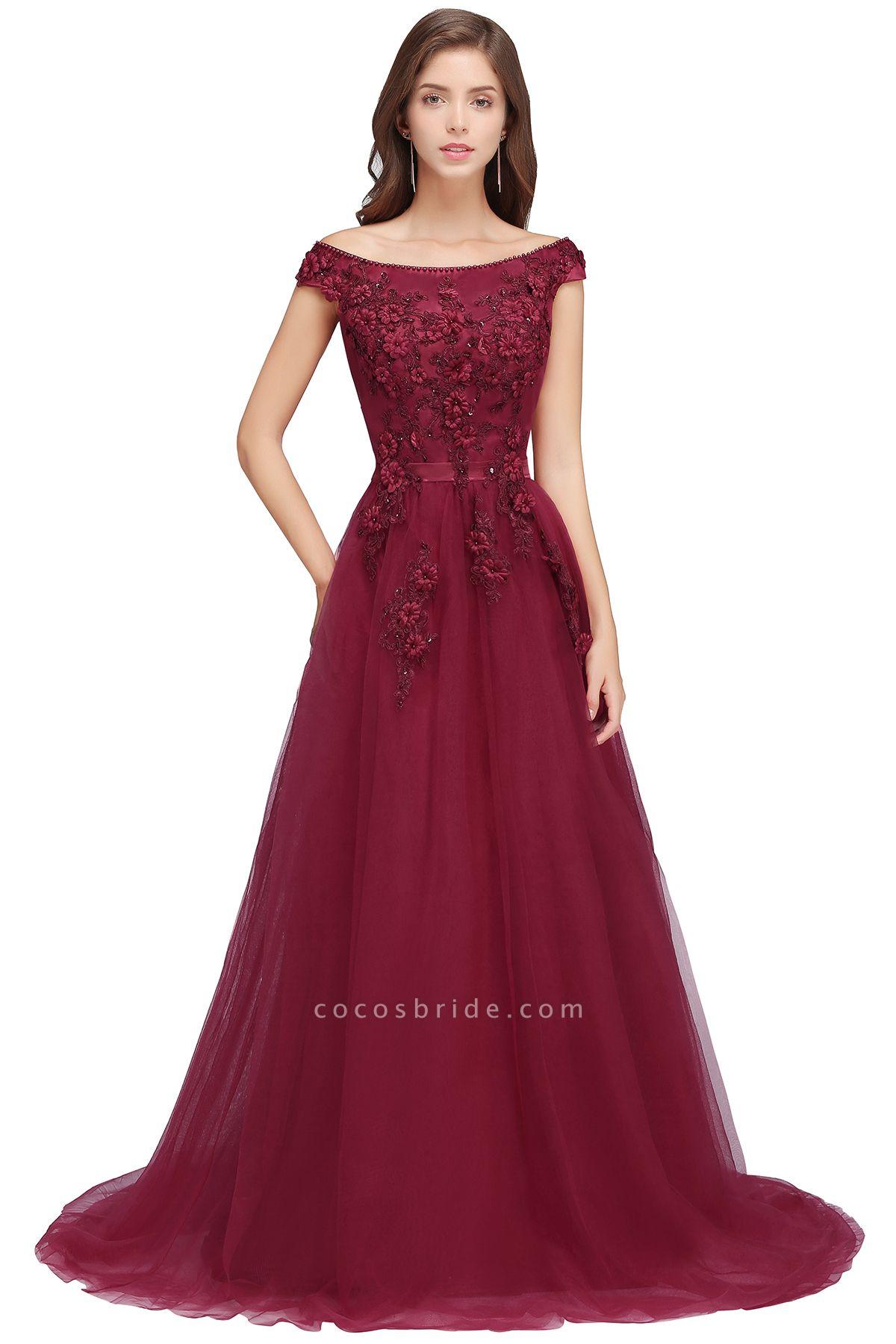 Sleek Off-the-shoulder Tulle A-line Evening Dress