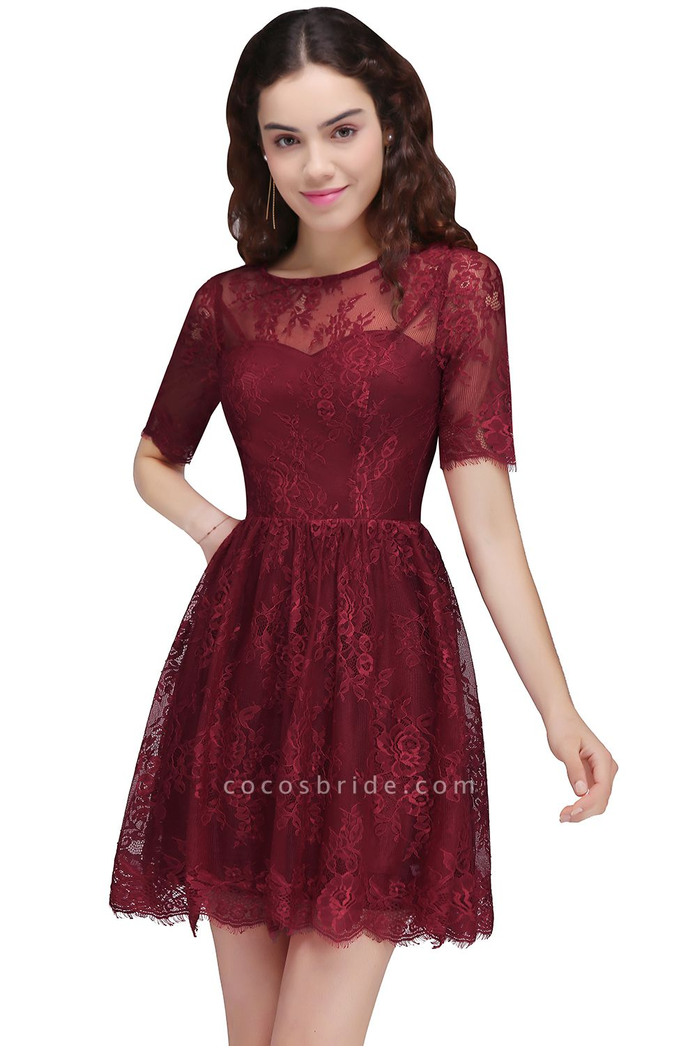 Burgundy A-Line Round Neck Lace Short Homecoming Dresses