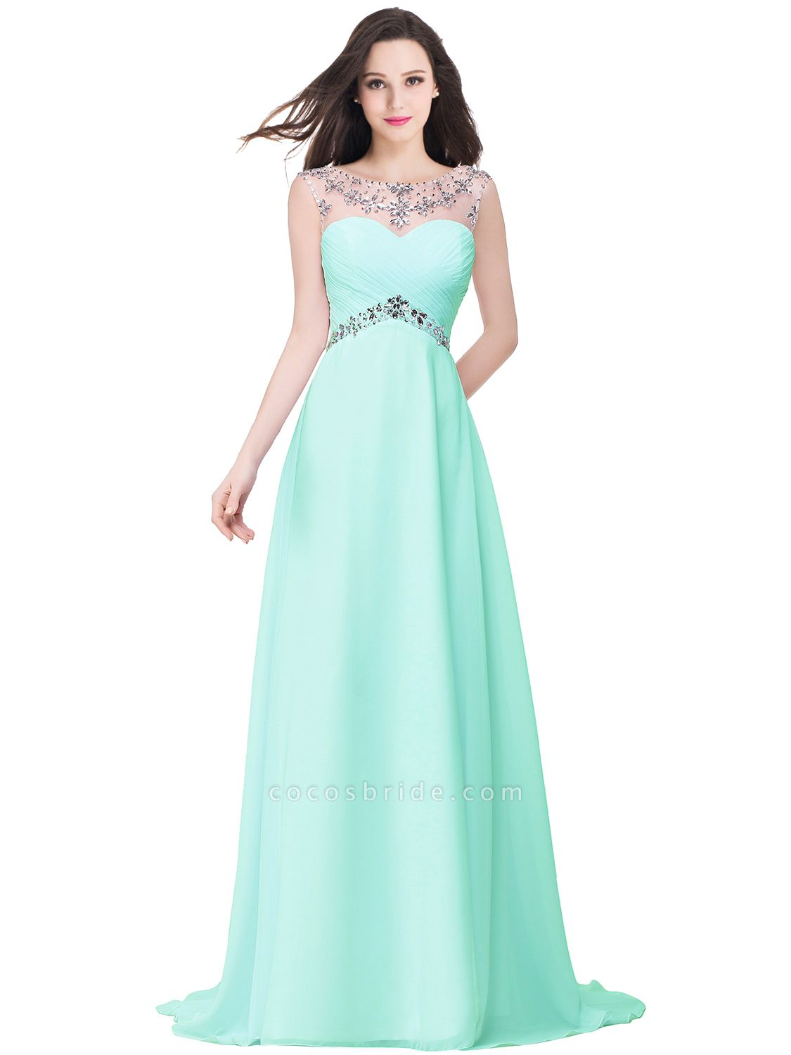 A-line Sweetheart Crystal Chiffon Evening Dress