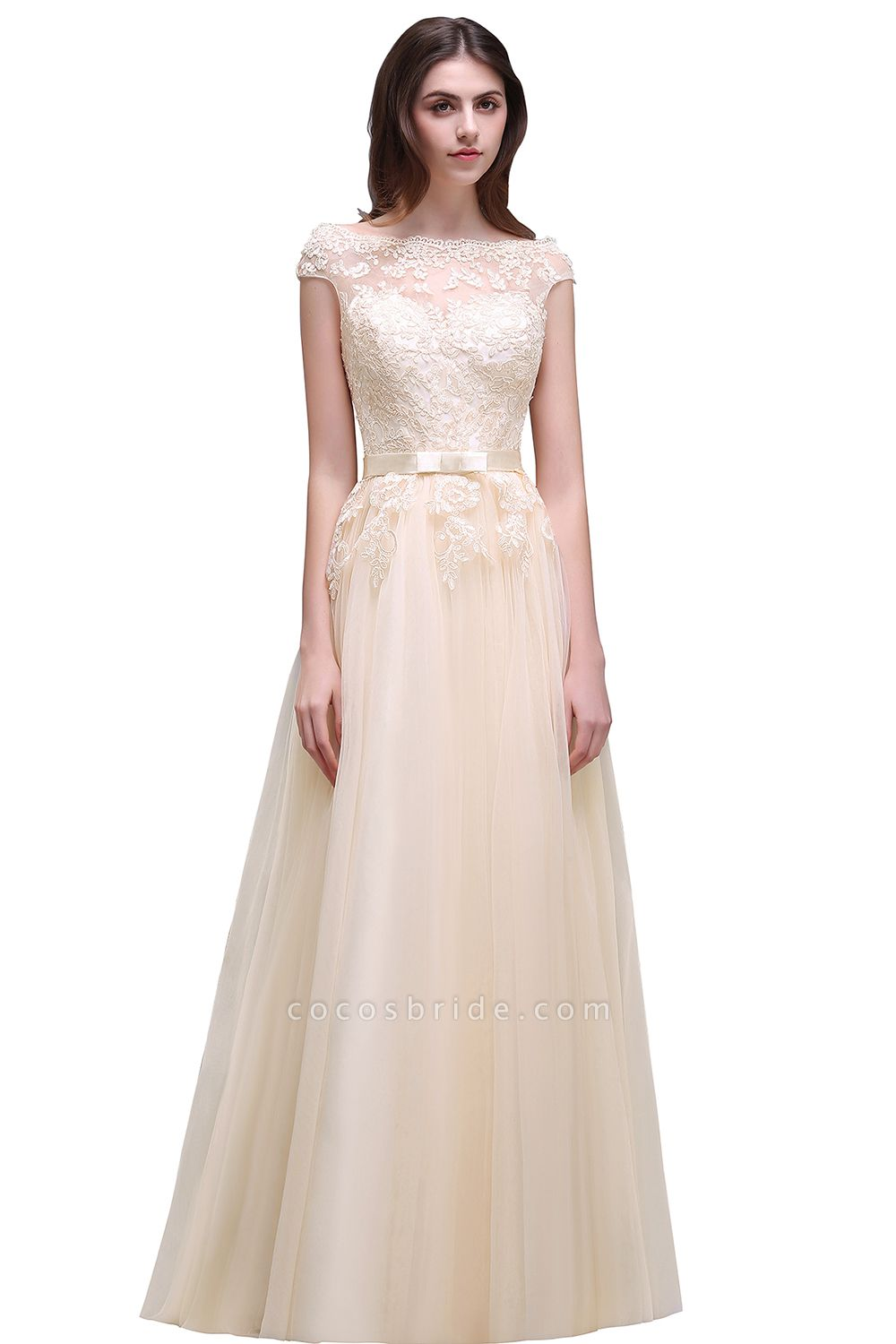 A-line Floor-Length Tulle Bridesmaid Dress With Lace Appliques