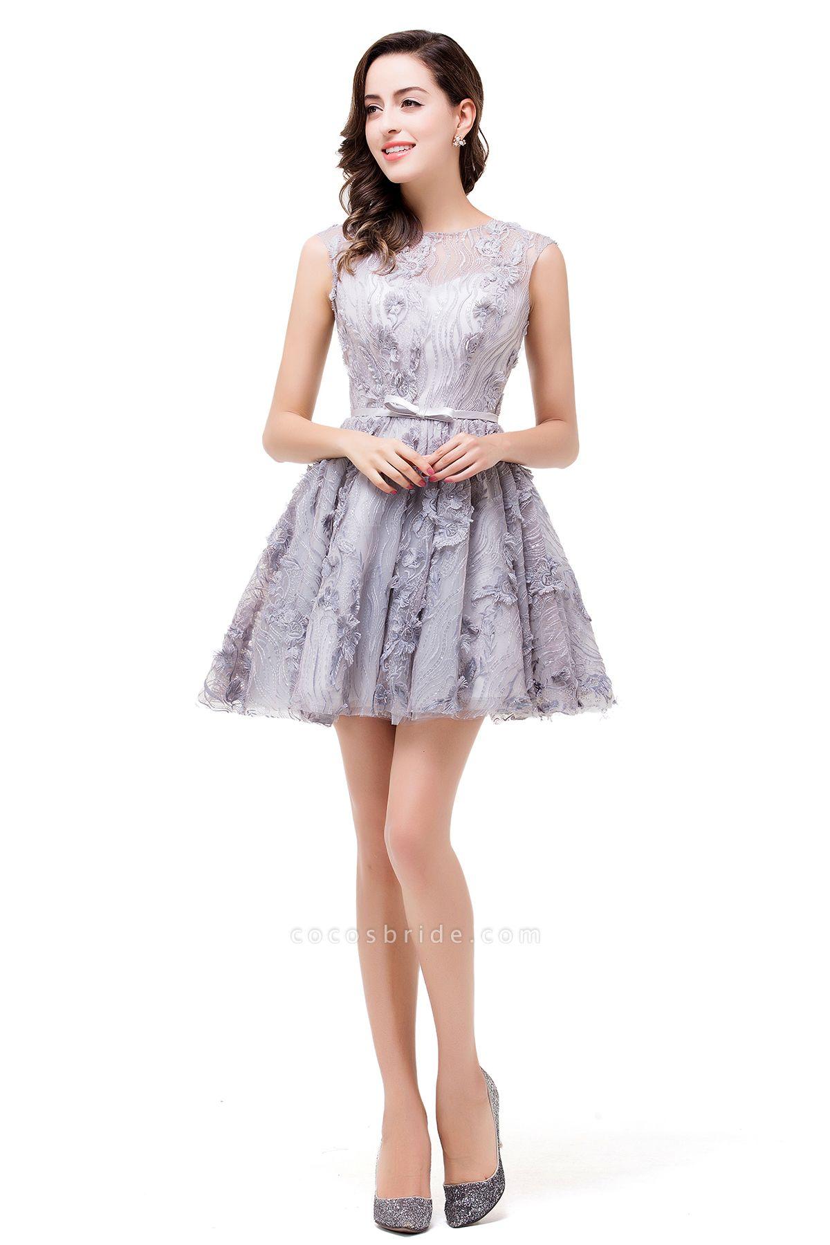 DANICA | A-Line Jewel Sleeveless Flower Applique Grey Prom Dresses