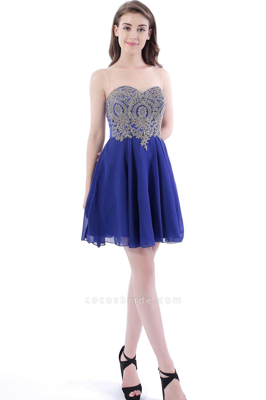 DAISY | Short Jewel Lace Chiffon Applique Prom Dresses