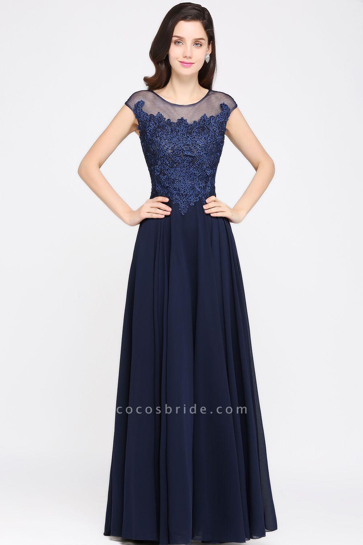 Modest Jewel Chiffon A-line Evening Dress
