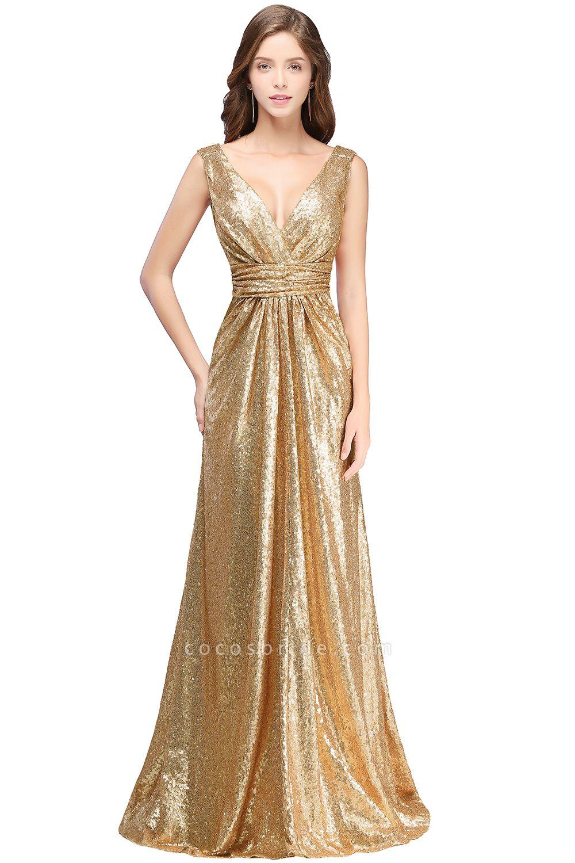 Beautiful V-neck Sequined A-line Evening Dress