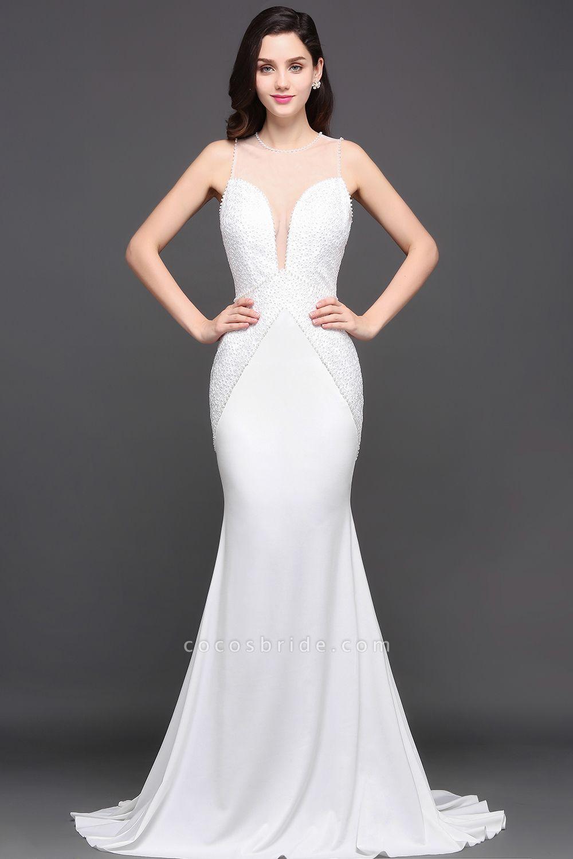 Modest Jewel Chiffon Mermaid Evening Dress