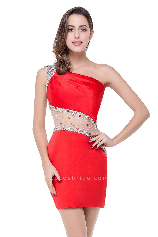 ELLE | Mermaid One-shoulder Short Prom Dresses with Crystal Beadings