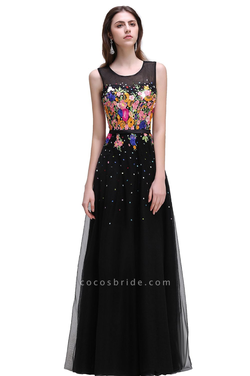 CAMERON   A-line Jewel Neck Tulle Black Prom Dresses with Embroidery Flowers