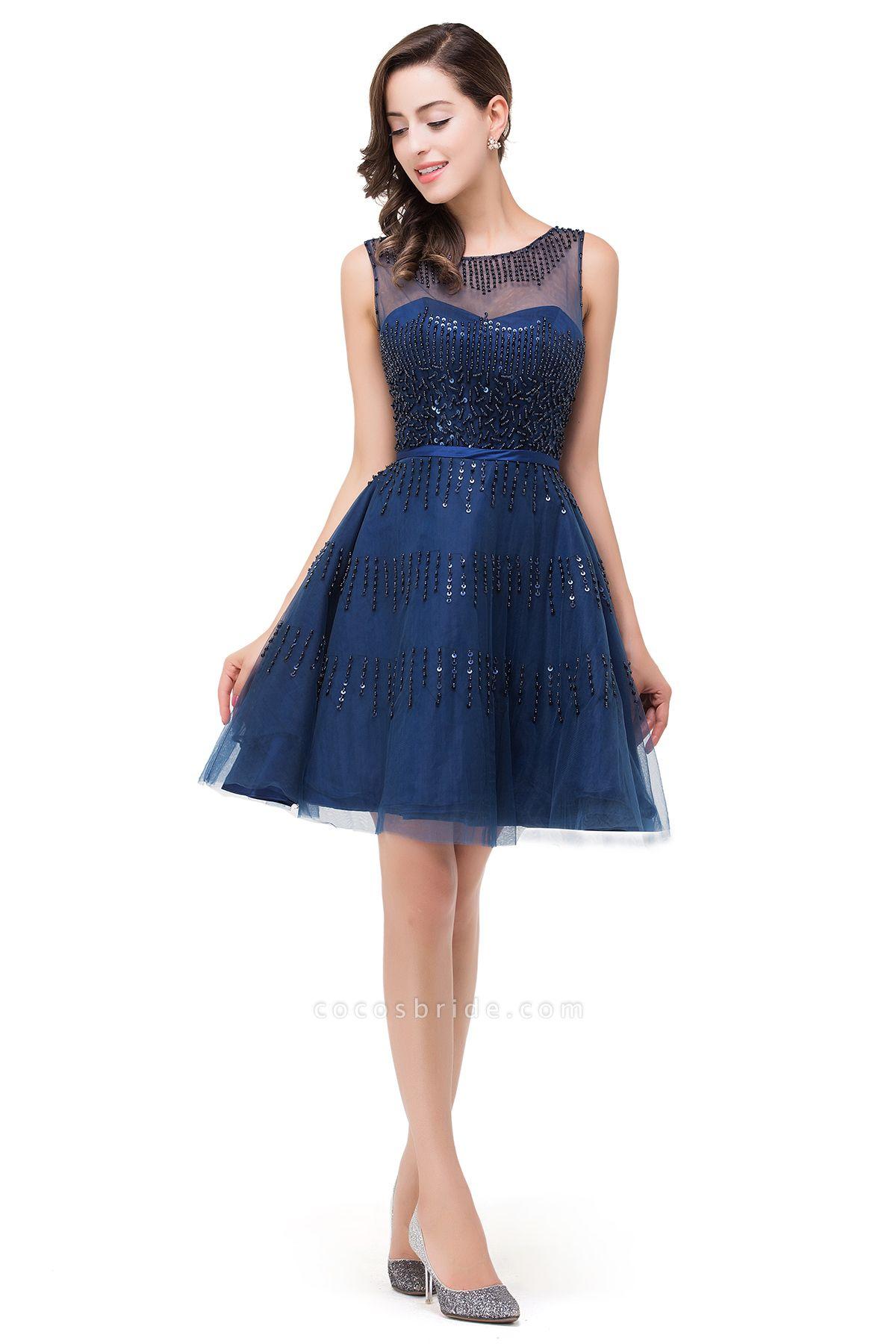 FATIMA | A-Line Sleeveless Crew Tulle Appliques Short Prom Dresses