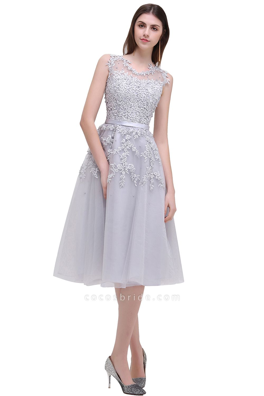 EMORY | A-Line Crew Tea Length Lace Appliques Short Prom Dresses