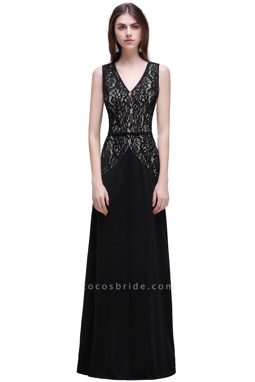 BRYANNA   A-line V-Neck Long Lace Black Prom Dresses with Sash