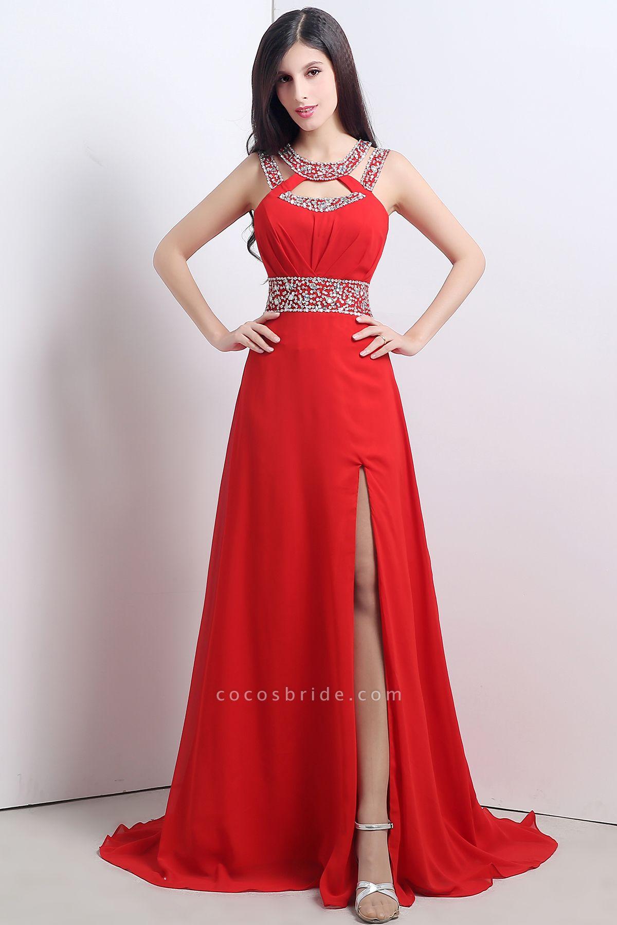 Excellent Halter Chiffon A-line Evening Dress