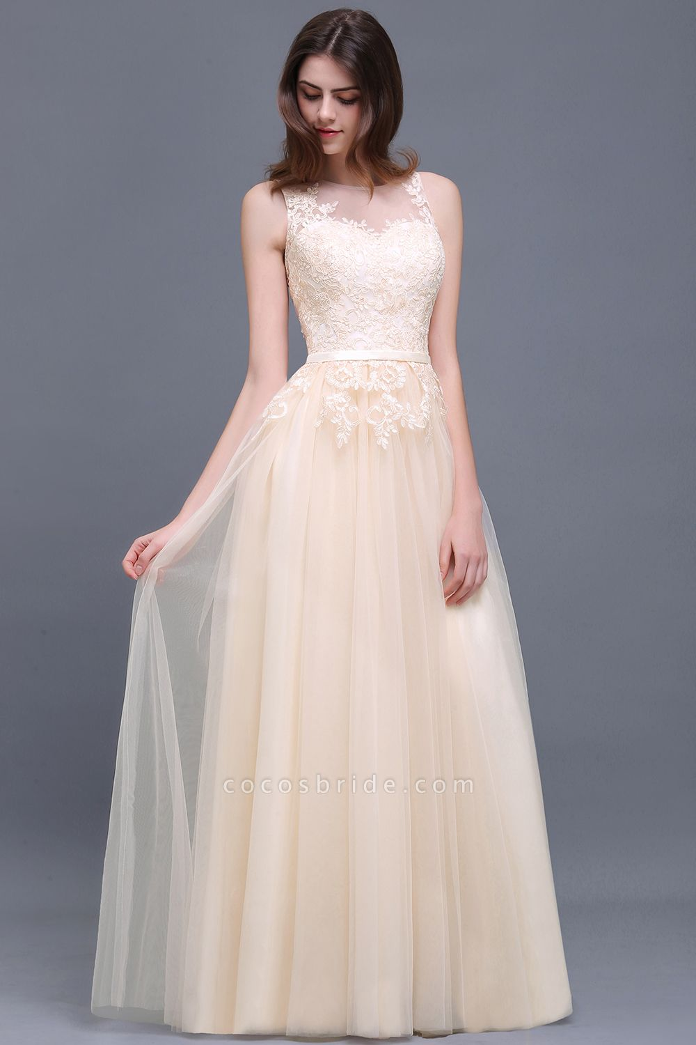 A-line Floor-Length Tulle Bridesmaid Dress With Lace