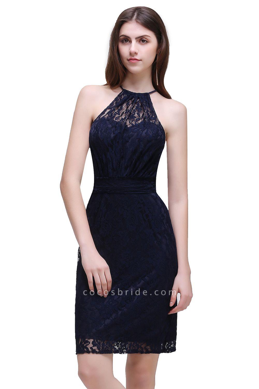 Amazing Halter Lace Column Homecoming Dress