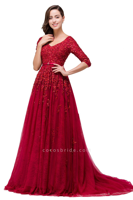 FRANCES | A-Line Floor-Length V-neck Half Sleeves Lace Appliques Prom Dresses