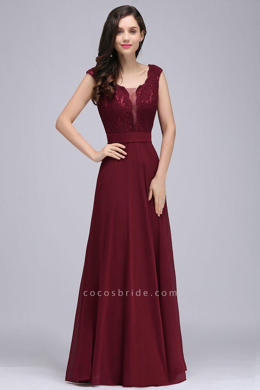 Scoop Cap Sleeves Satin Chiffon A-line Floor Length Bridesmaid Dress