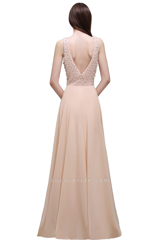 ALANA | Sheath Sheer Chiffon Long Evening Dresses With Pearls