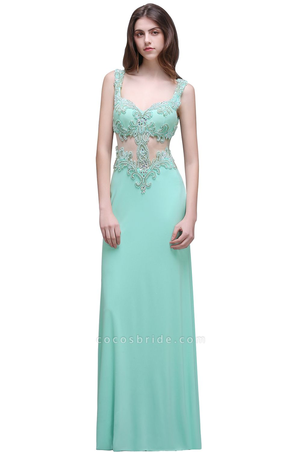 Sleek Straps Chiffon Column Prom Dress
