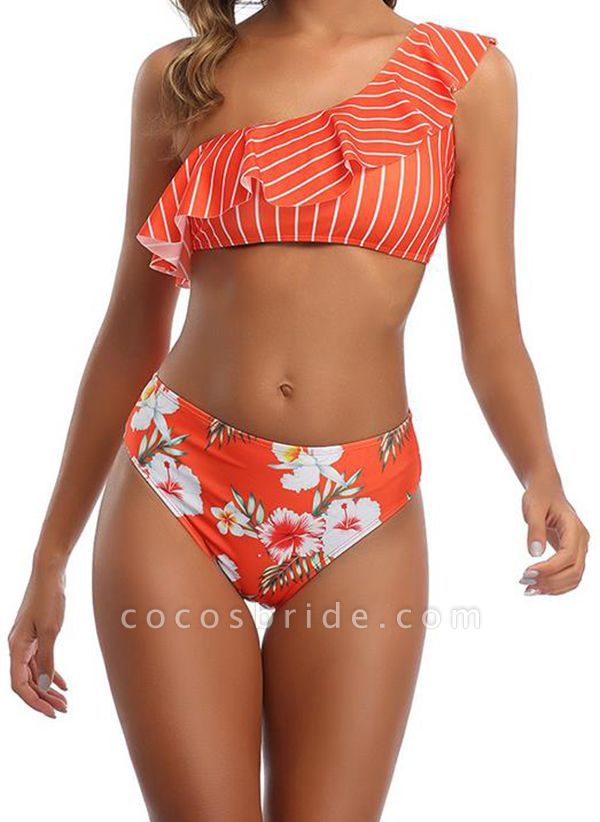 Polyester Oblique Neckline Pattern Floral Bikinis Swimwear