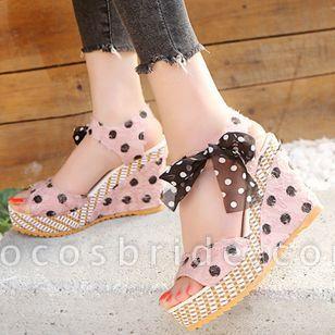Women's Bowknot Heels Cloth Wedge Heel Sandals