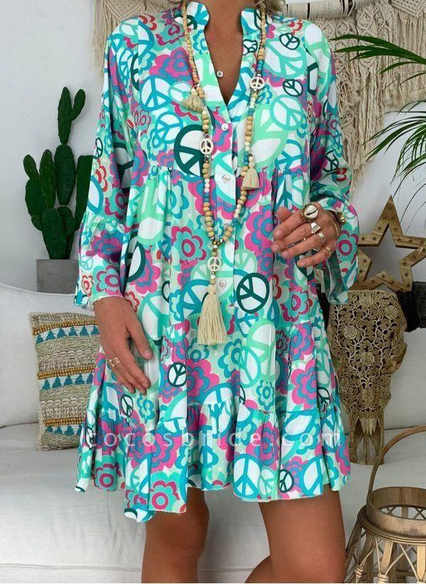 Blue Plus Size Peasant Floral V-Neckline Boho Above Knee Plus Dress
