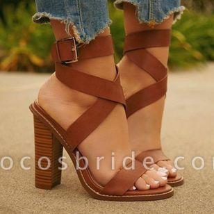 Women's Buckle Heels Leatherette Chunky Heel Sandals