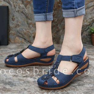 Women's Flower Slingbacks Nubuck Flat Heel Sandals