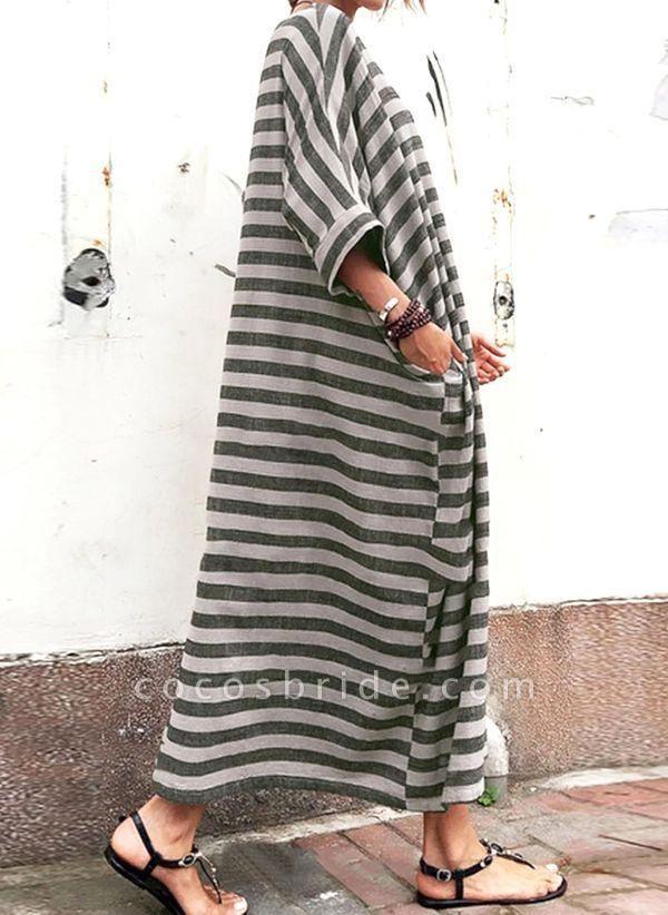 Gray Plus Size Tunic Stripe Round Neckline Casual Pockets Plus Dress
