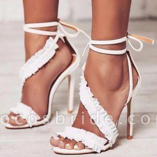Women's Ruffles Lace-up Slingbacks Stiletto Heel Sandals