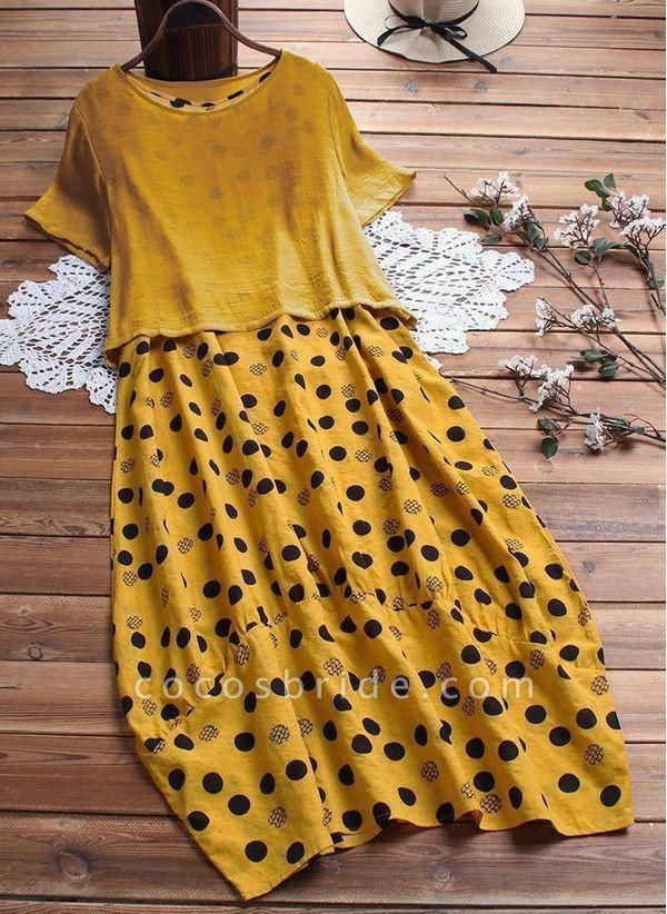 Yellow Plus Size Tunic Polka Dot Round Neckline Casual Maxi Plus Dress