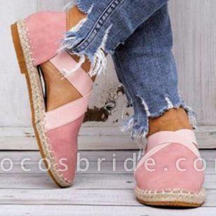 Women's Closed Toe Nubuck Flat Heel Sandals