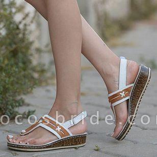 Women's Slingbacks Toe Ring Wedge Heel Sandals
