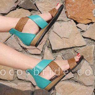 Women's Braided Strap Split Joint Heels Wedge Heel Sandals