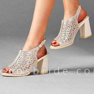 Women's Buckle Hollow-out Slingbacks Chunky Heel Sandals