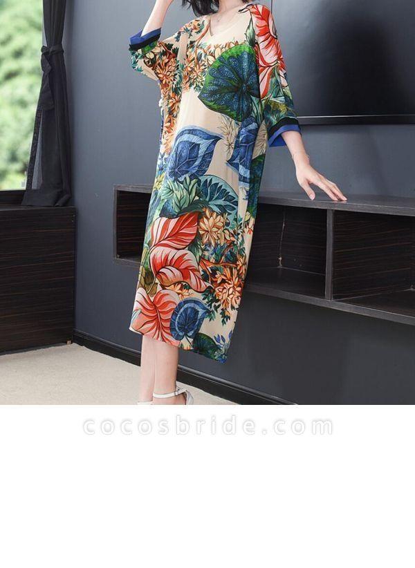Green Plus Size Tunic Floral V-Neckline Casual Midi Plus Dress