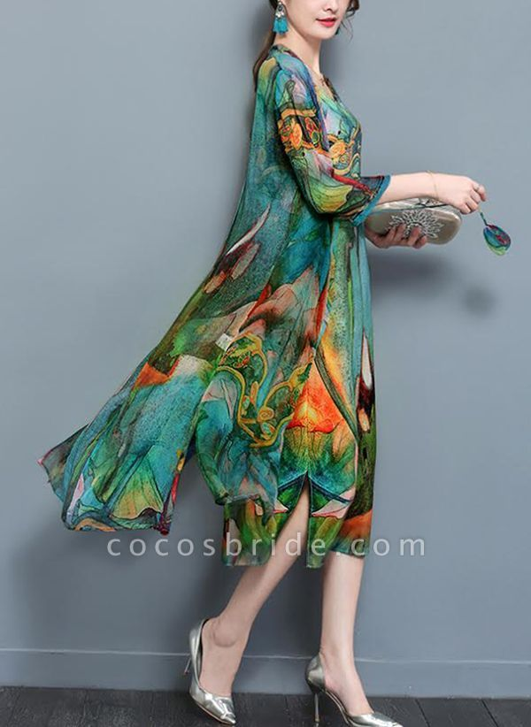 Arabian Floral Tunic Round Neckline A-line Dress