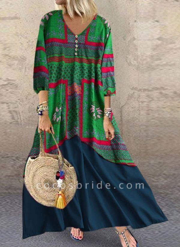 Green Plus Size Tunic Color Block V-Neckline Casual Buttons Plus Dress